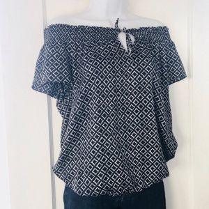 Ann Taylor Navy White Diamond Off the Shoulder Top